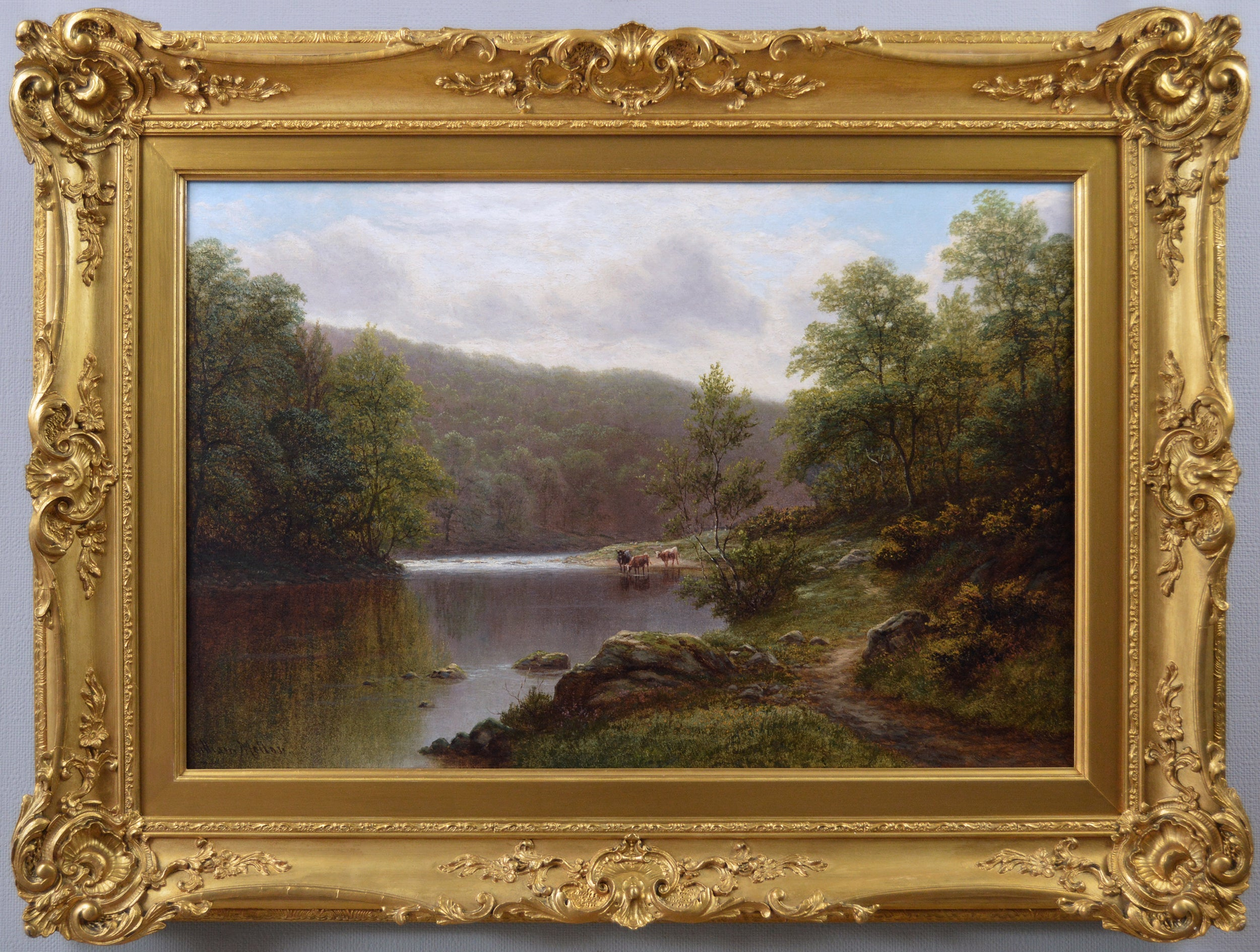 19th Century landscape oil painting of cattle by a river