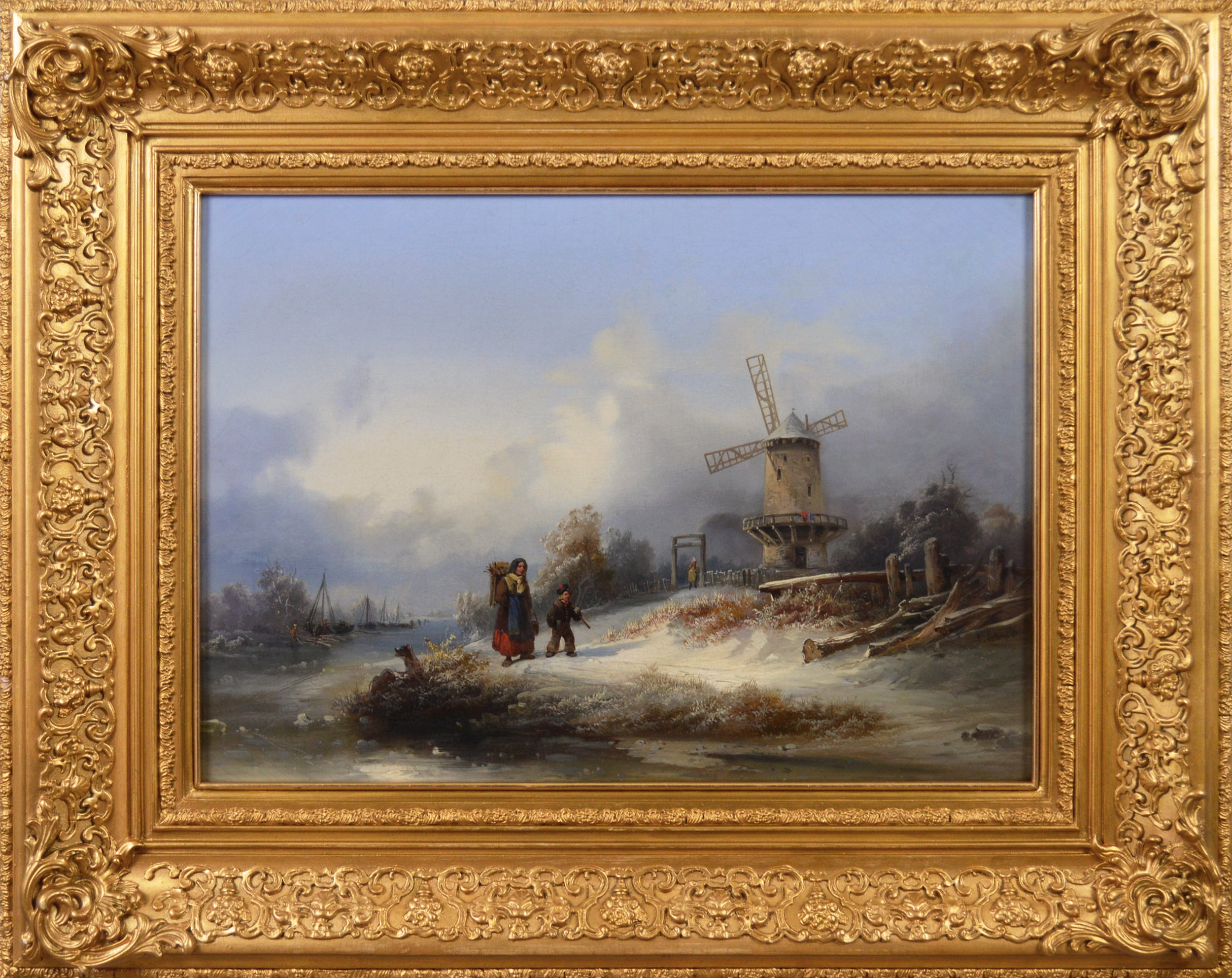 19th Century winter landscape oil painting of a windmill by a river