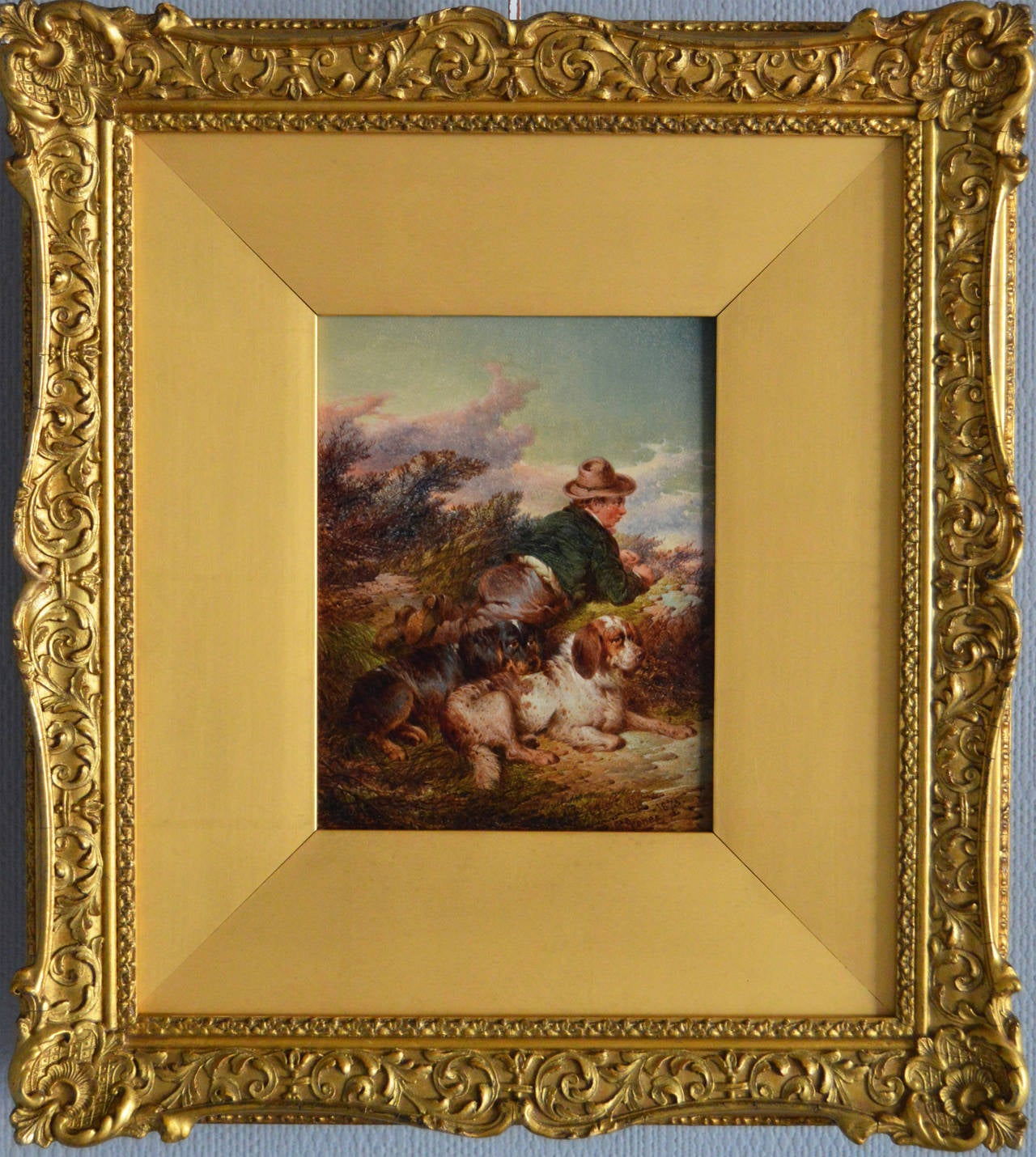 Sporting oil painting of a man with dogs by Paul Jones