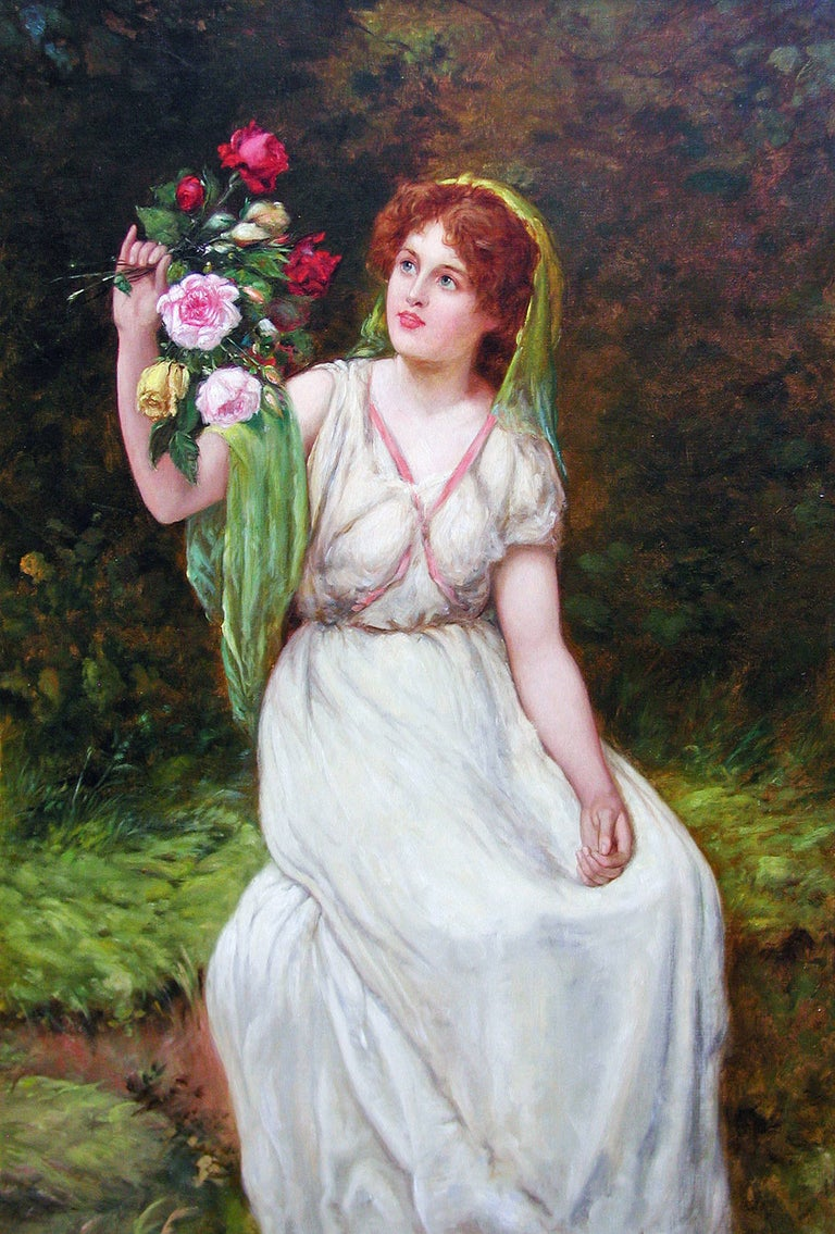 19th Century genre painting of a maiden holding flowers - Painting by William Oliver