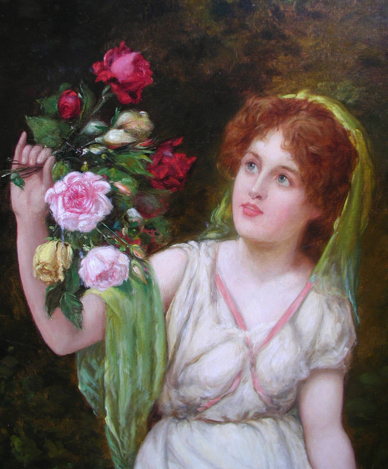 19th Century genre painting of a maiden holding flowers - Victorian Painting by William Oliver