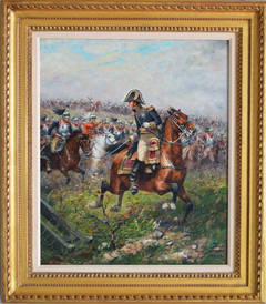 General Leading a Charge of the French Cuirassiers at Waterloo, oil on canvas