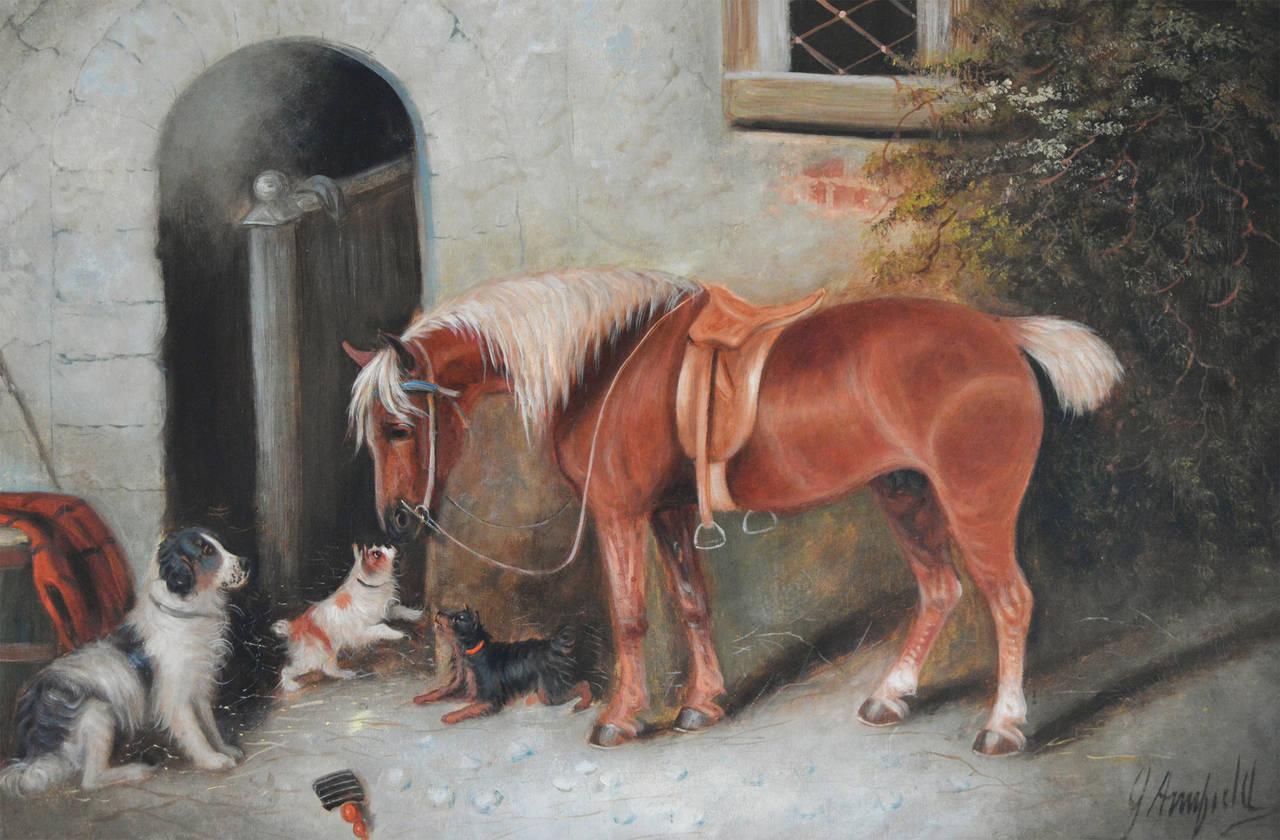 Farmyard Friends, oil on canvas - Painting by Edward Armfield