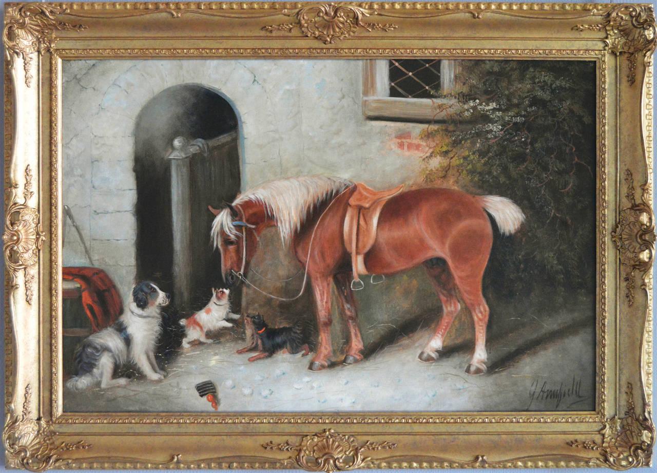 Edward Armfield Landscape Painting - Farmyard Friends, oil on canvas
