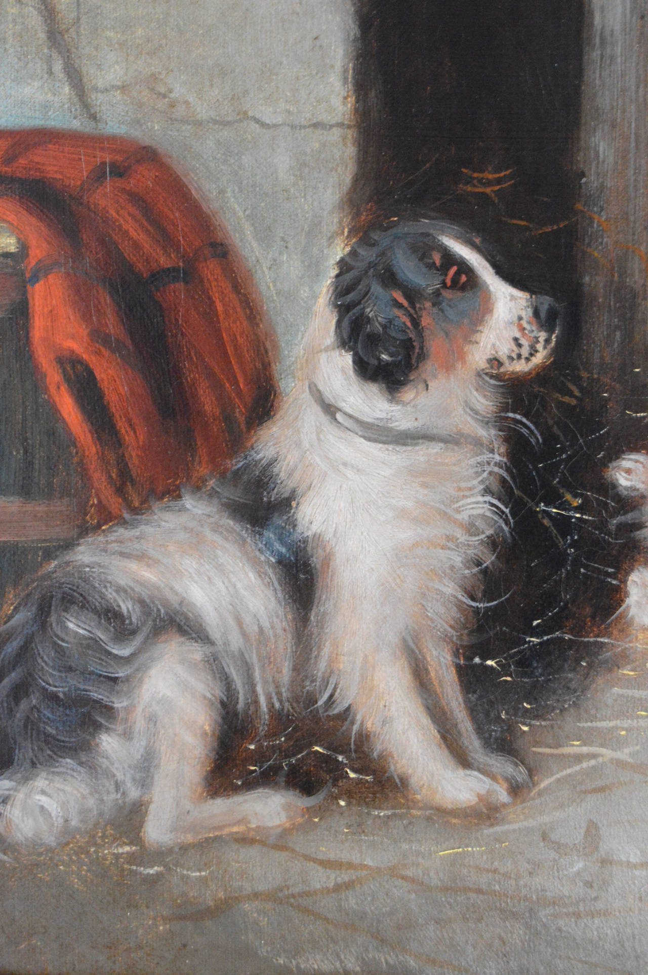 Farmyard Friends, oil on canvas - Victorian Painting by Edward Armfield