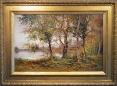 Large scale landscape oil painting of a woodland lake