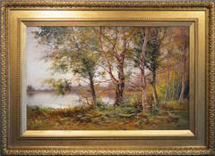 Woodland Lake, large scale oil on canvas