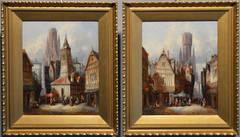 Bruges & Dortrecht, pair, oil on canvas