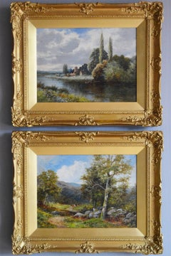 Pair of 19th century landscape oil paintings of the River Avon & Berwin Valley