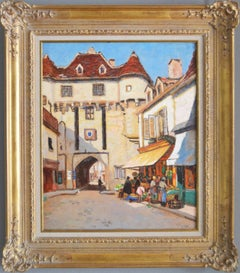 Townscape oil painting of Semur, France