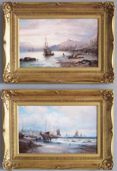 Tantaloon Castle & A Fresh Breeze, oil on canvas, pair