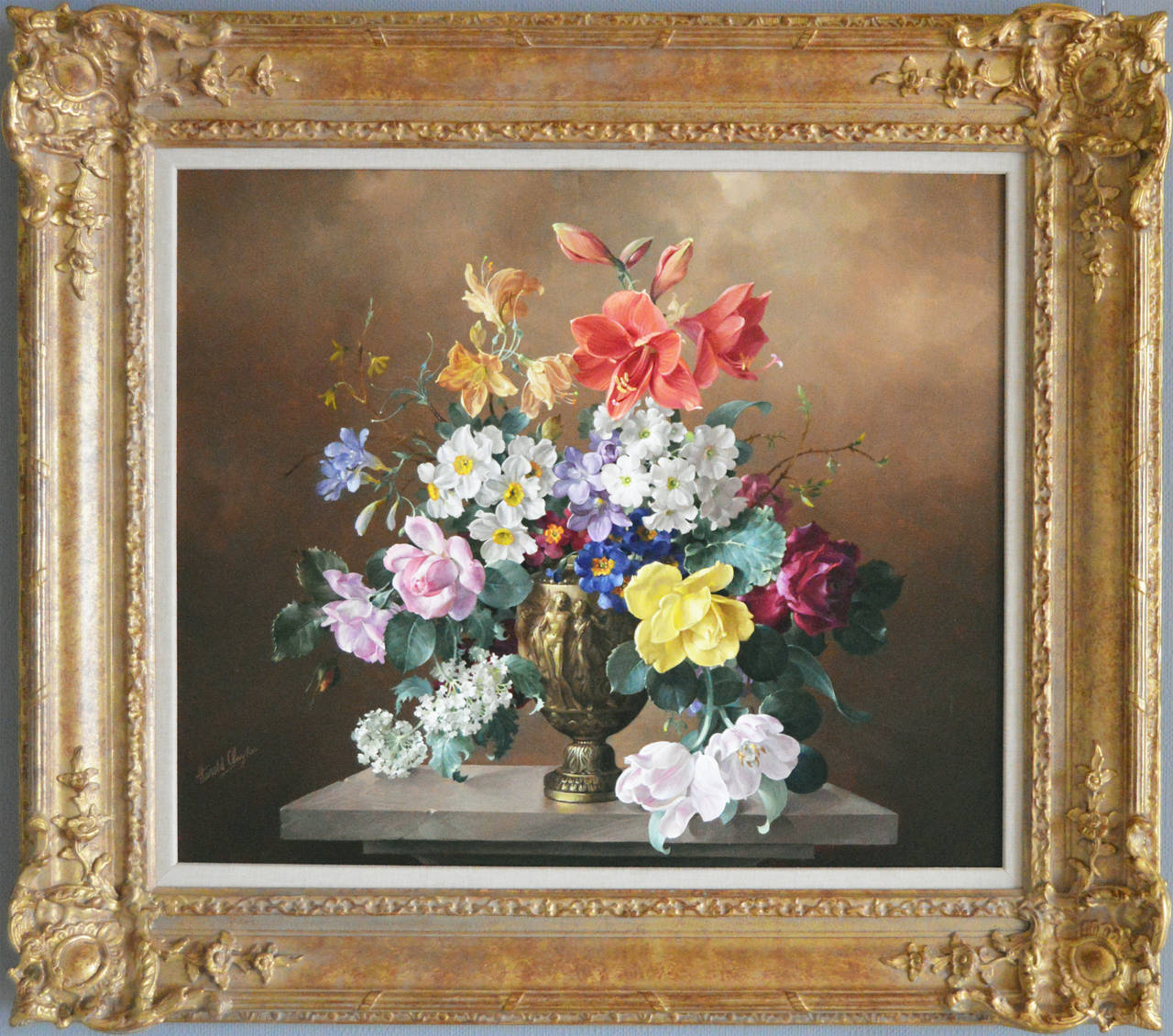 Harold Clayton - Flowers in a Bronze Vase, Oil on canvas, Painting ...