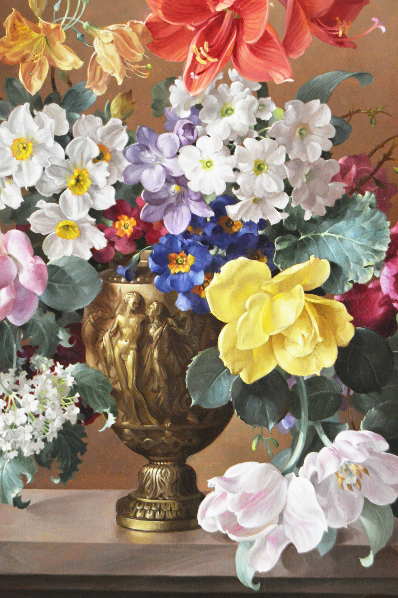 Harold Clayton - Flowers in a Bronze Vase, Oil on canvas ...
