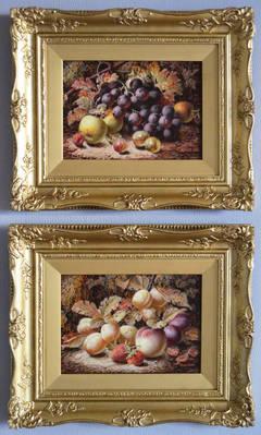 Still Life of Fruit, pair, oil on board
