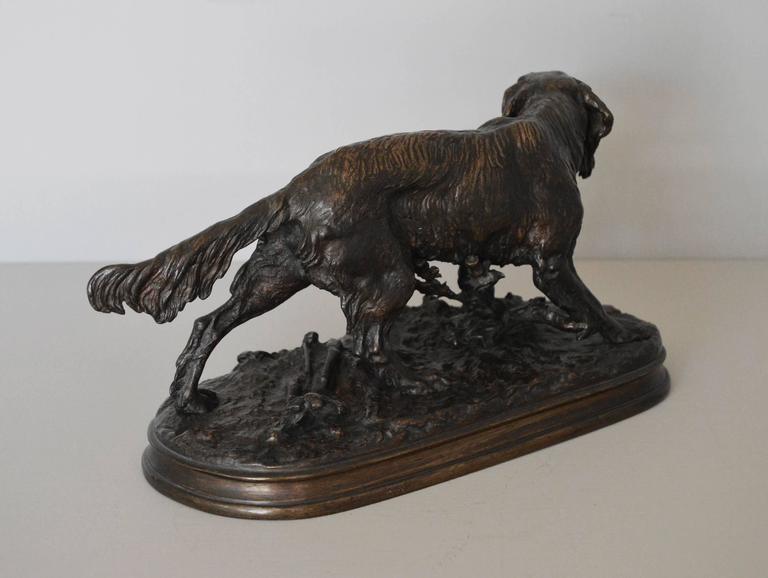 Epagneul Anglais, bronze sculpture - Victorian Sculpture by Pierre Jules Mêne