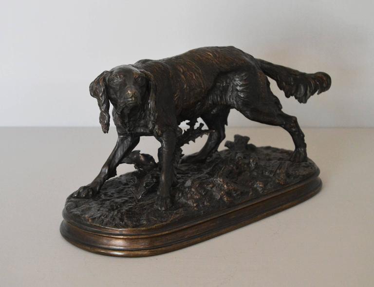 Epagneul Anglais, bronze sculpture - Sculpture by Pierre Jules Mêne