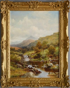 19th Century river landscape oil painting of a waterfall