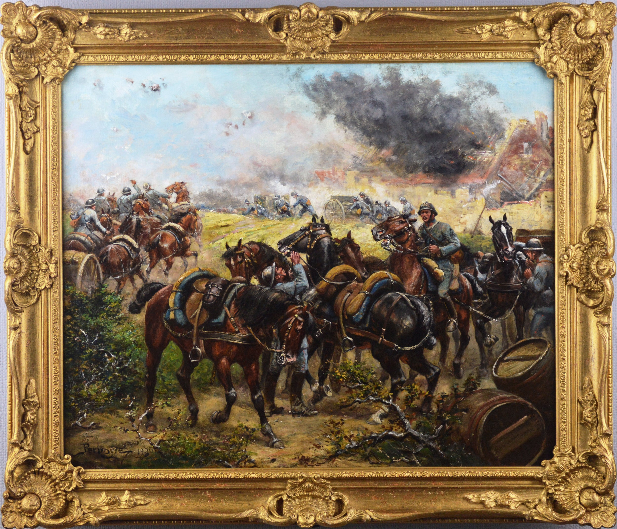 Military WW1 oil painting of French soldiers & cavalry