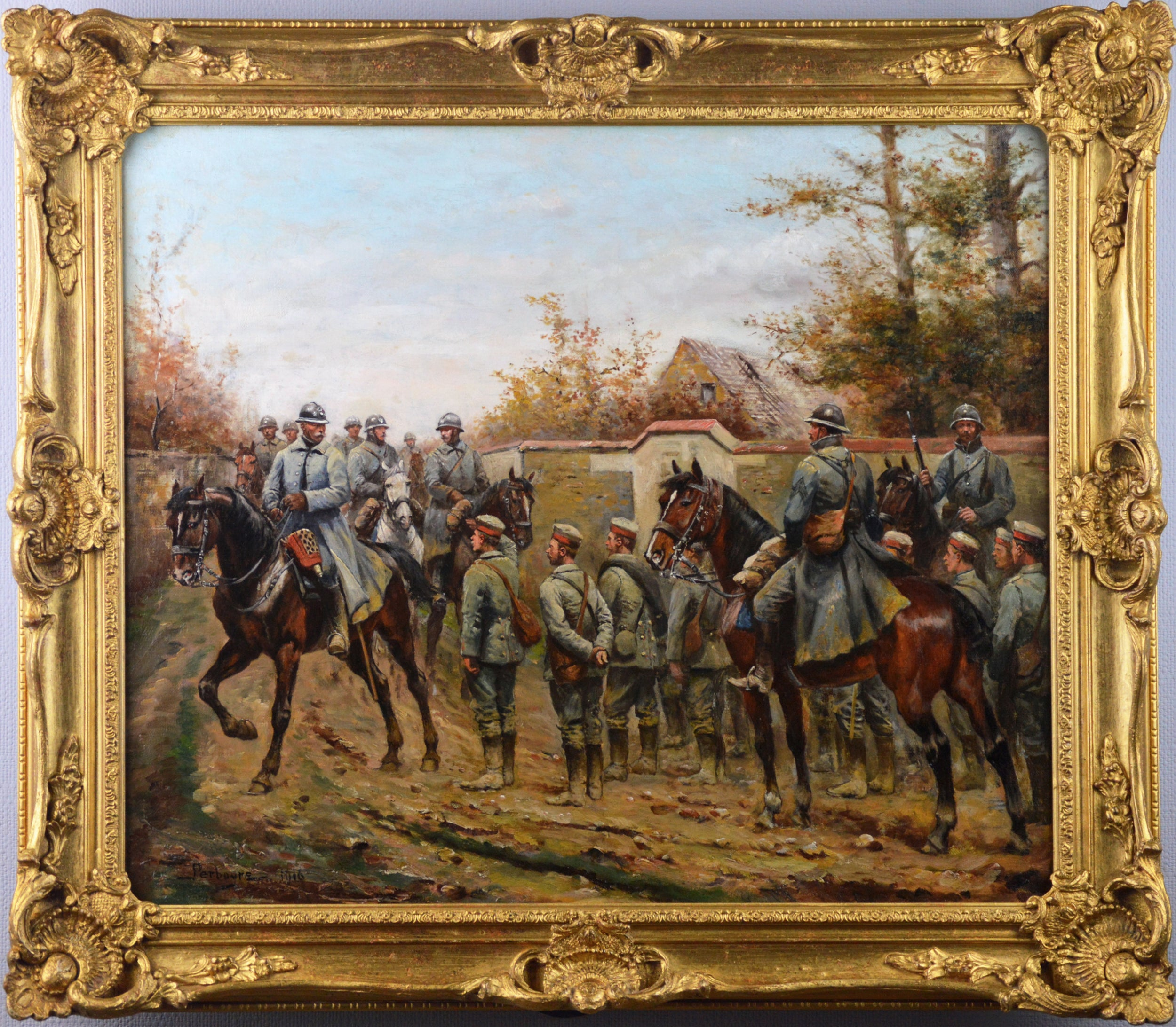 Military WW1 oil painting of French & German Soldiers