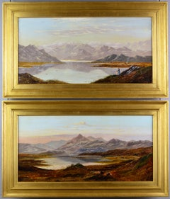 Pair of 19th Century landscape oil paintings of mountain Lakes
