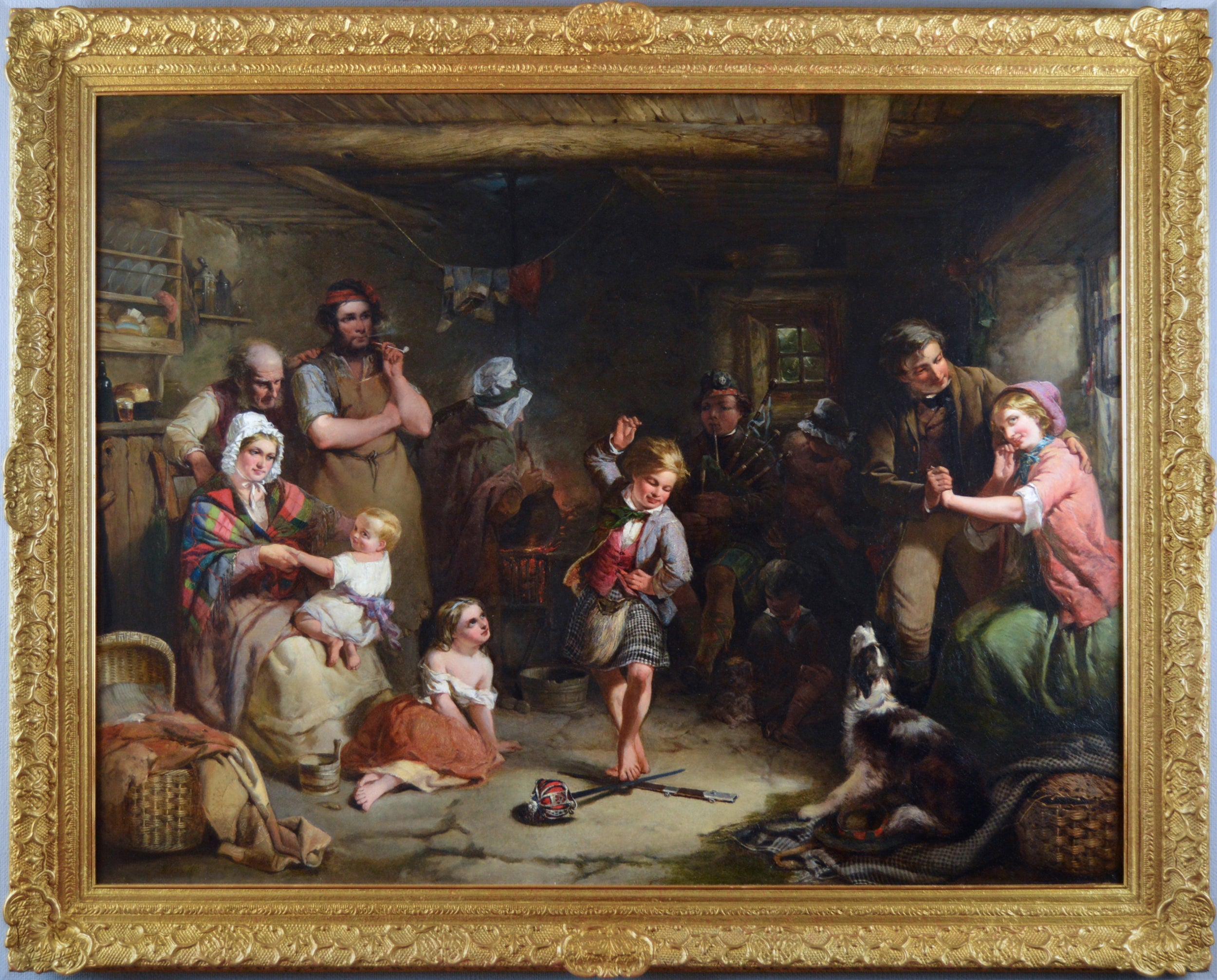 19th Century genre oil painting of a boy performing a sword dance