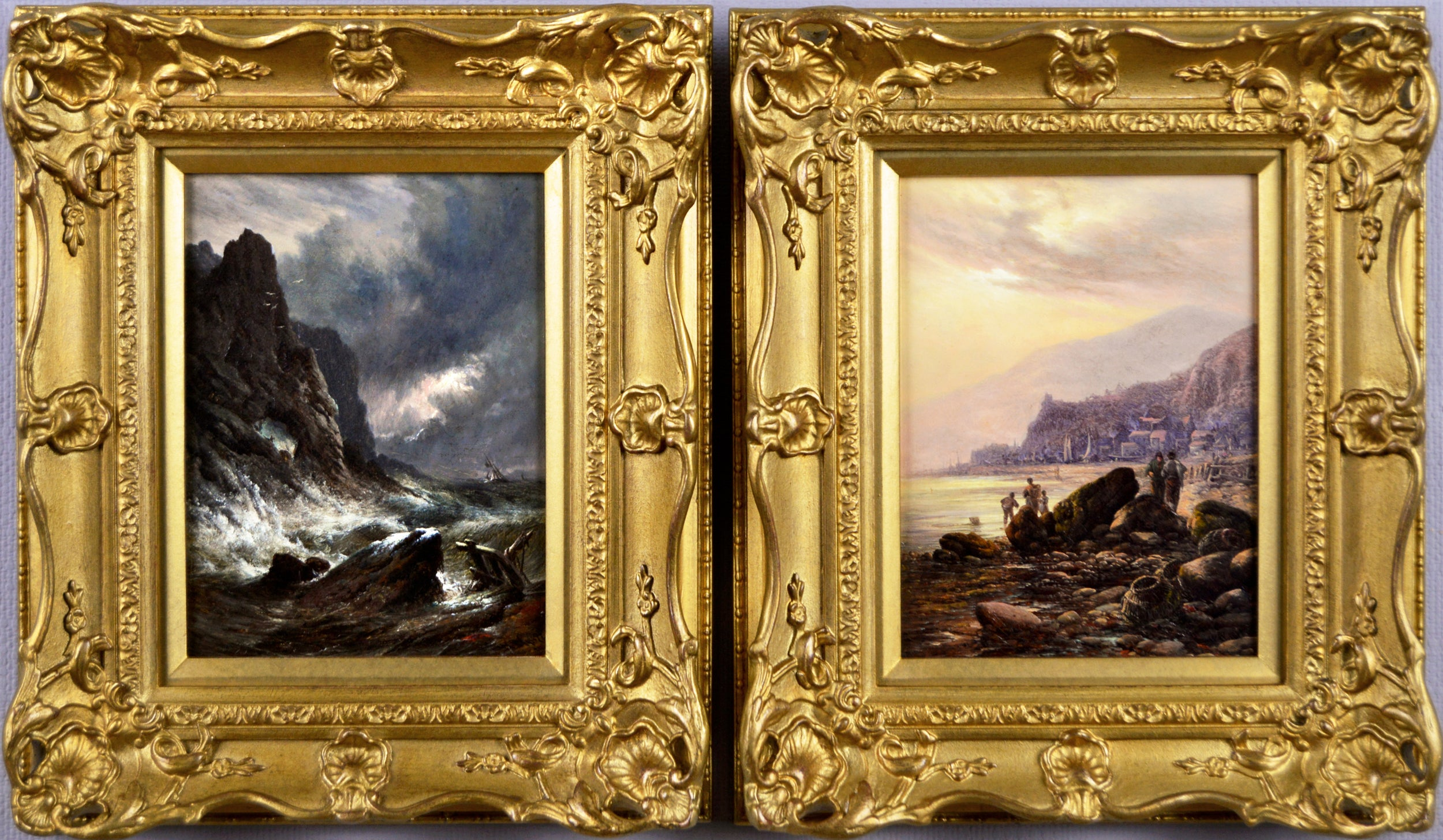 Pair of 19th Century coastal seascape oil paintings