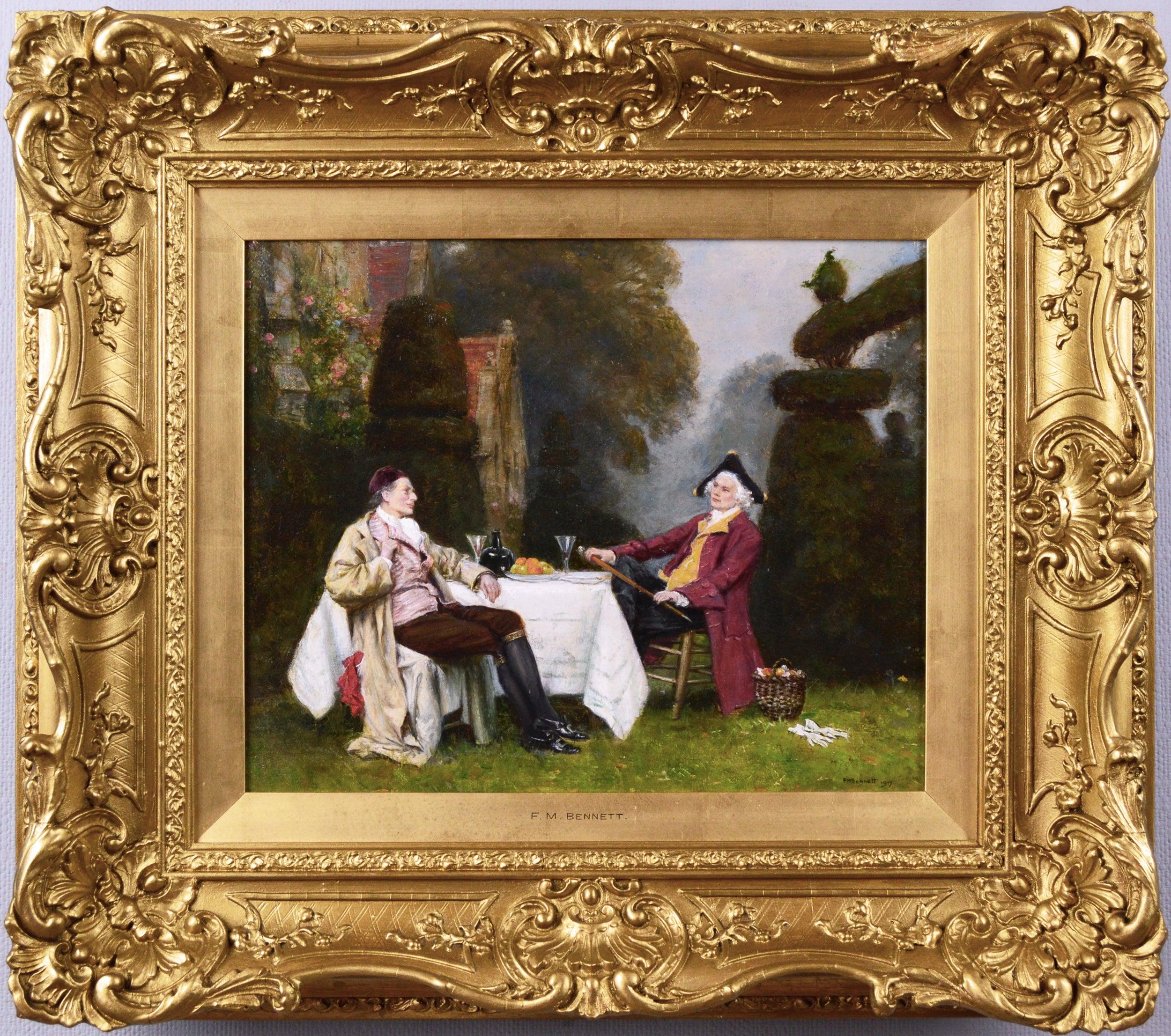 19th Century genre oil painting of two gentlemen in a garden