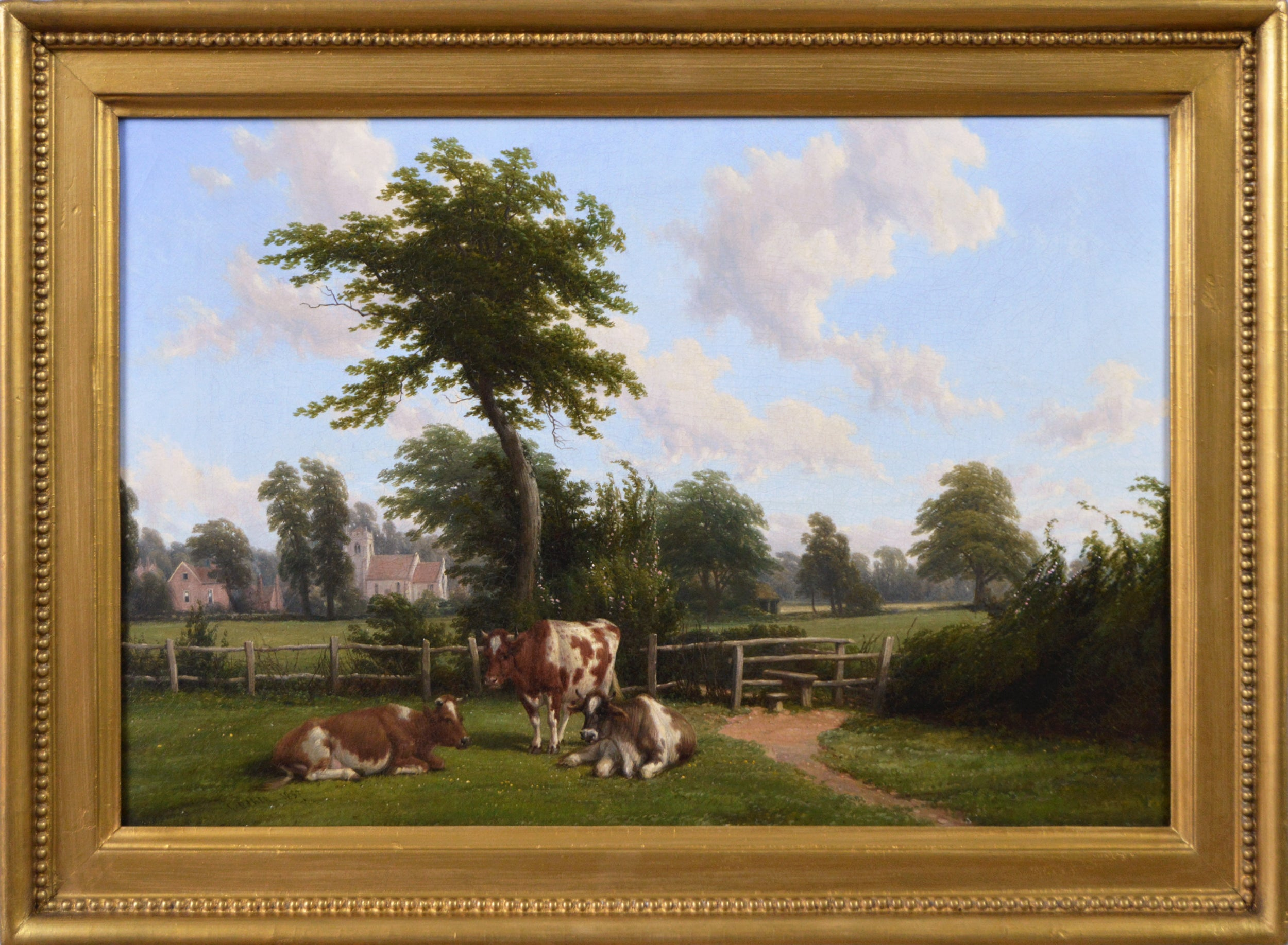 19th Century landscape oil painting of cattle near a church