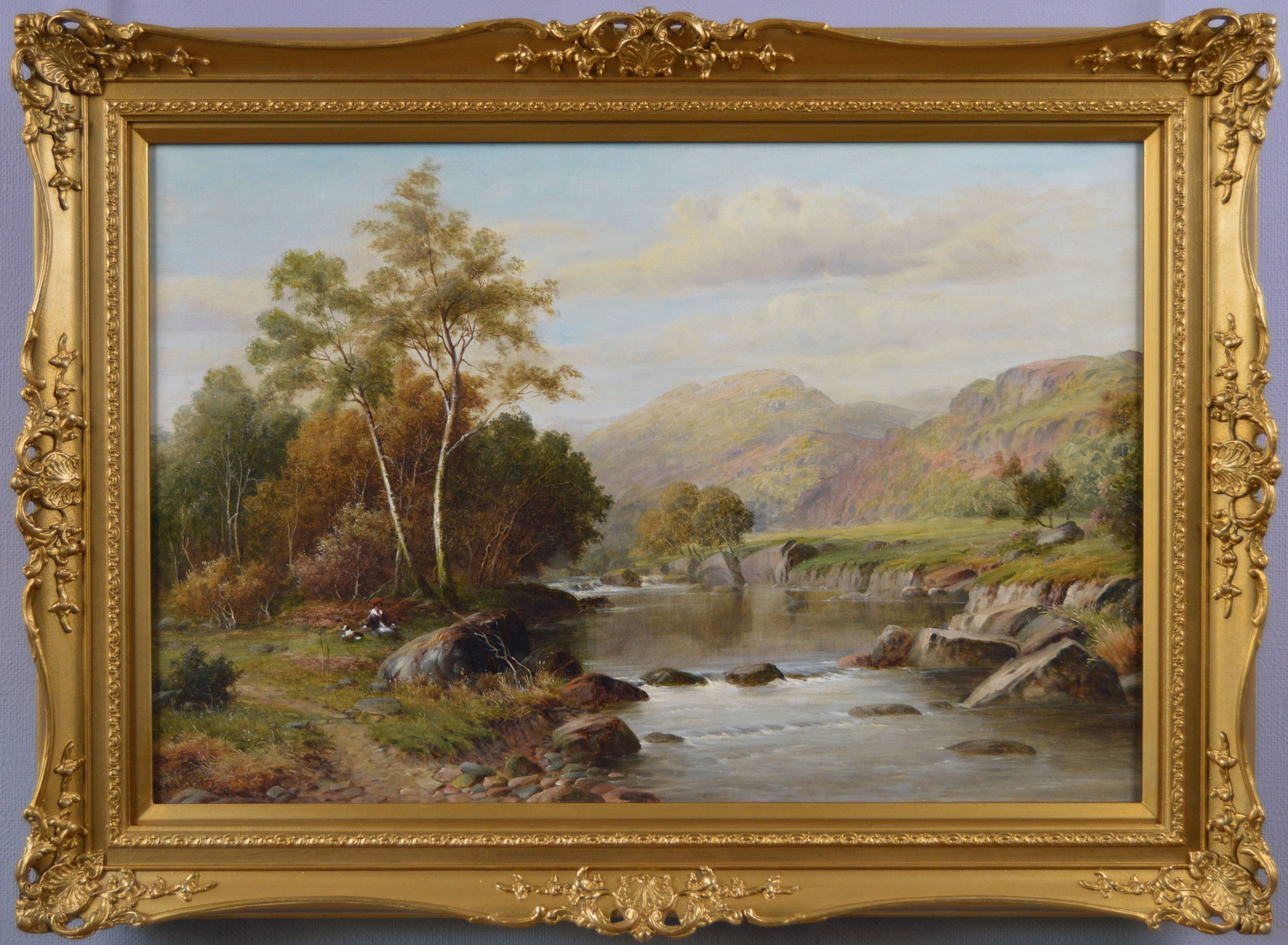 19th Century Welsh landscape oil painting of the river Mawddach