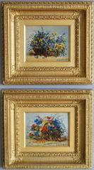 Still Life of Flowers, pair, oil on panel