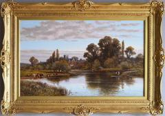 Shepperton on Thames with St Nicholas Church, oil on canvas