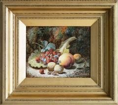 Still Life of Peach & Raspberries, oil on canvas