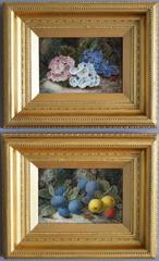 Still Life of Fruit & Still Life of Flowers, oil on canvas, pair