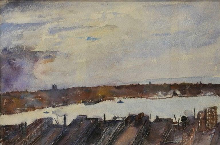 """Everett Shinn Landscape Art - """"View of East River"""""""