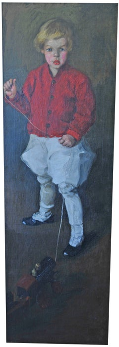 """Portrait of Young Boy and His Toy Train"""