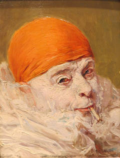 """Clown with Orange Cap Smoking"""