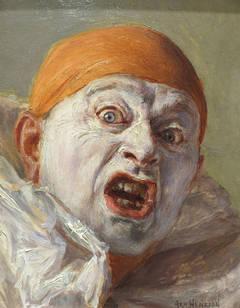 Clown with Orange Cap Startled