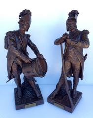Pair of Signed Bronze Soldier