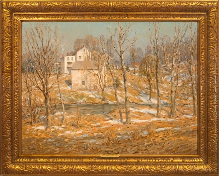 """Charles Morris Young Landscape Painting - """"Melting Snow"""""""