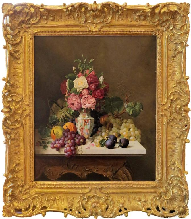 gottfried schultz still life with peonies grapes and plums painting for sale at 1stdibs. Black Bedroom Furniture Sets. Home Design Ideas