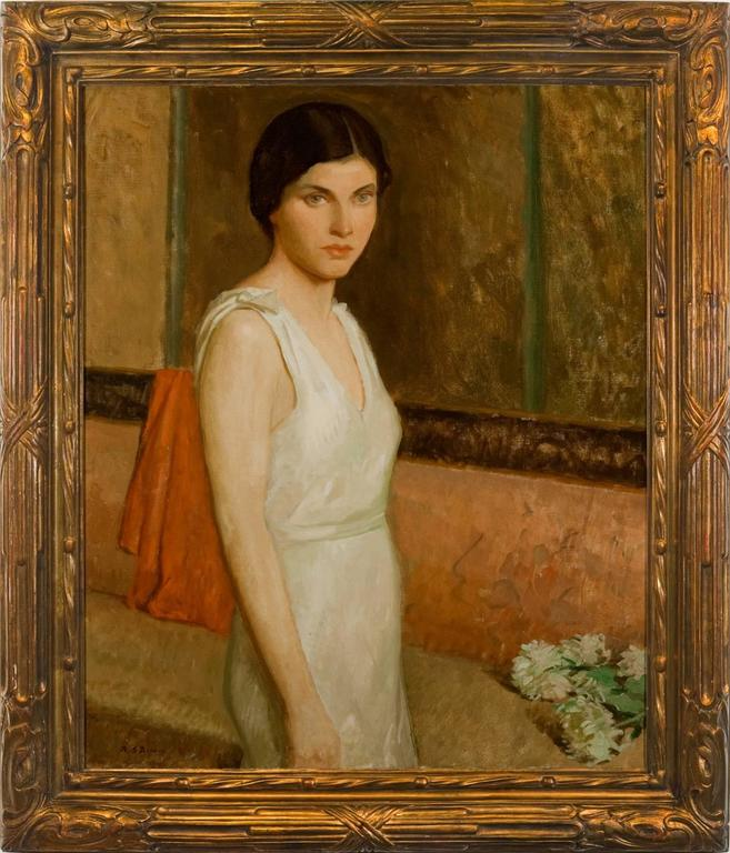 "Rae Sloan Bredin Figurative Painting - ""Polly in White"""