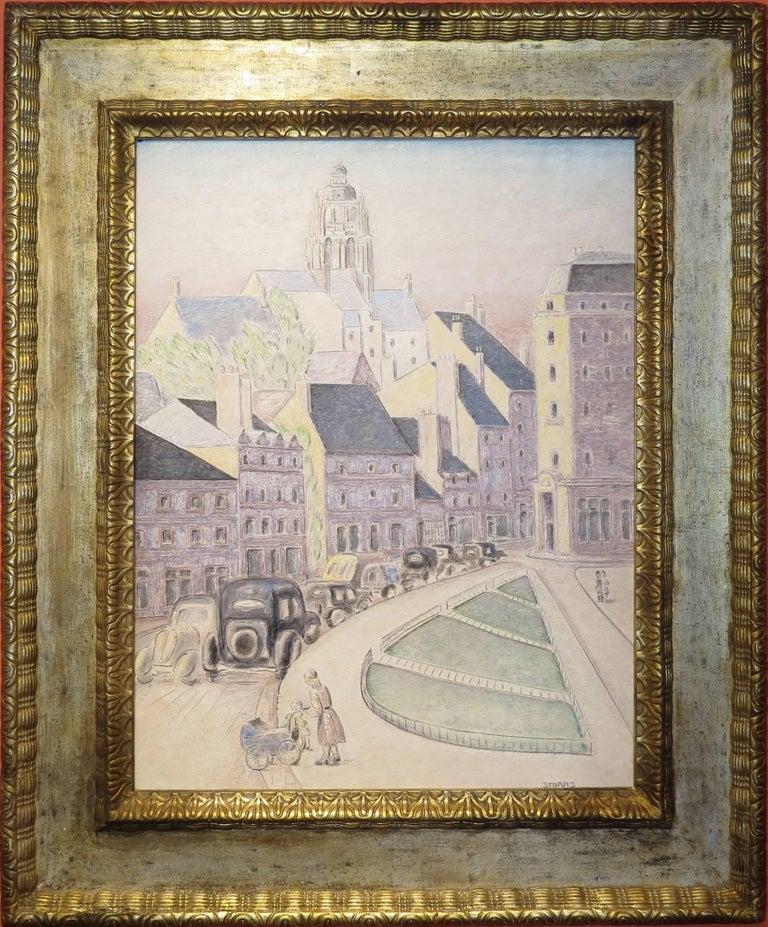 """John Bradley Storrs Landscape Painting - """"Cityscape at Dusk"""""""