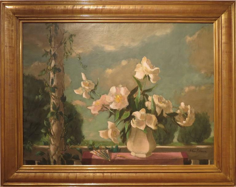 "Hobson Pittman Still-Life Painting - ""Peonies"""