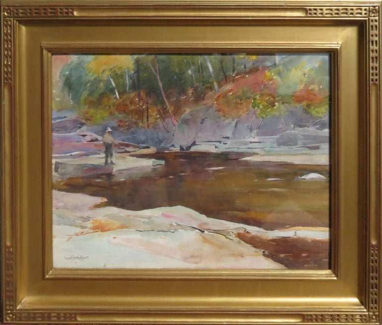 """Sears Gallagher Landscape Art - """"Fishing, New Hampshire"""""""
