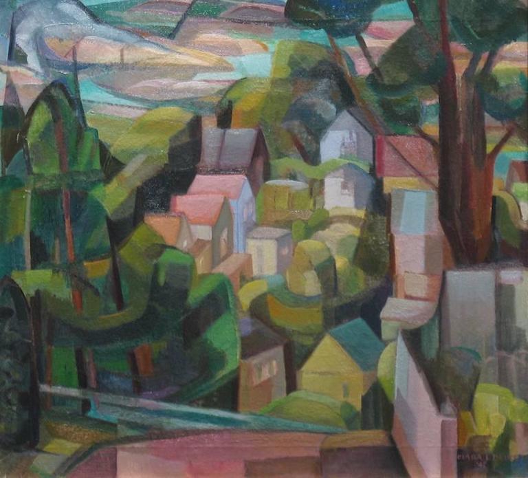clara l deike clara deike 1942 cubist landscape