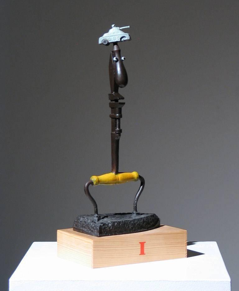 Adnan Charara Figurative Sculpture - Iron Man Found Art Sculpture