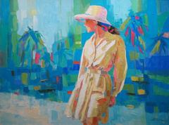 Palette Knife Painting of Woman with Palm Trees