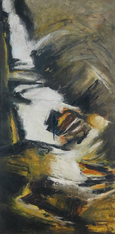 Mary Gehr Abstract Painting - White Birch and Falls