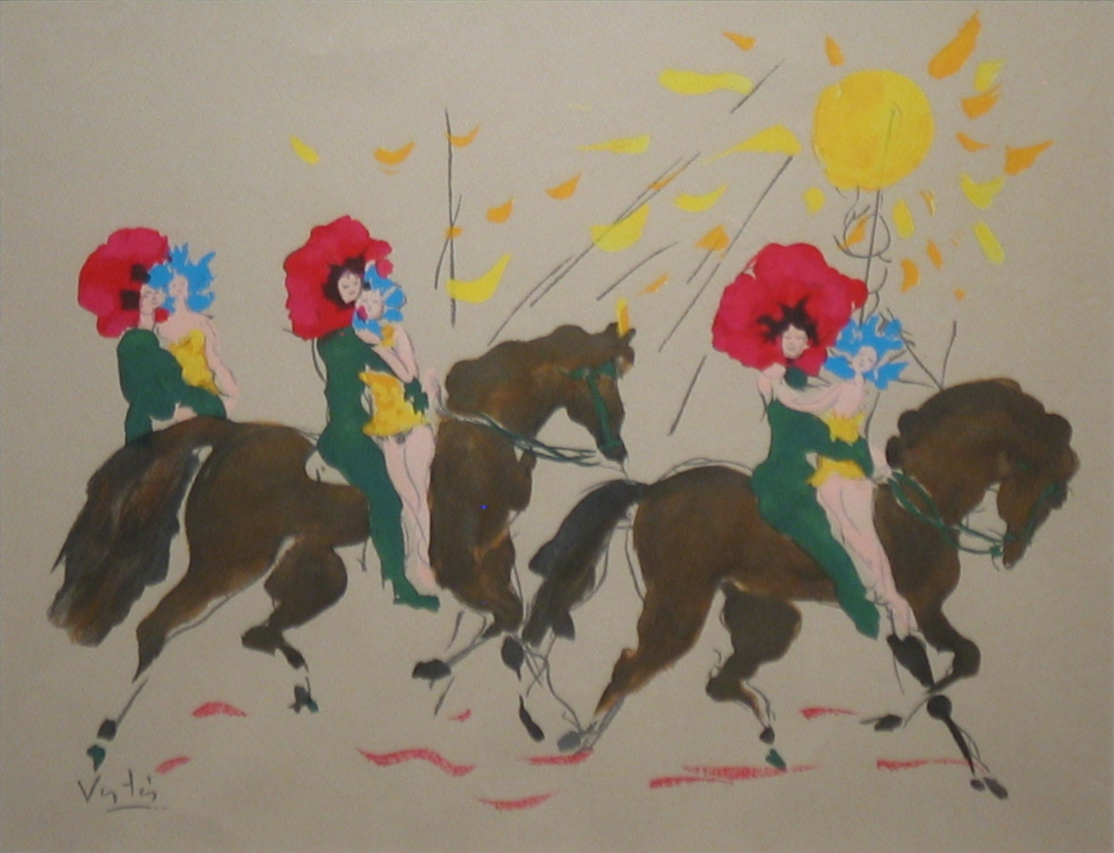 Horses with Woman Riders and Sun