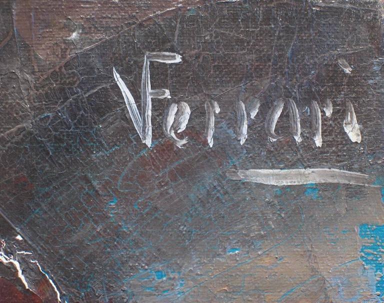 V. Ferrari Signed Upper-Right Oil on Canvas 36 x 24 inches